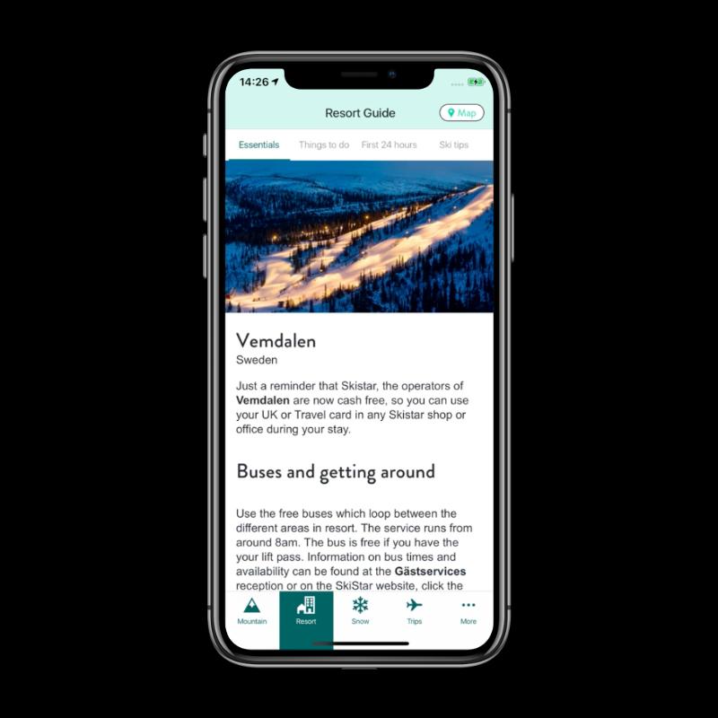 Crystal Ski Explorer app resort information screen
