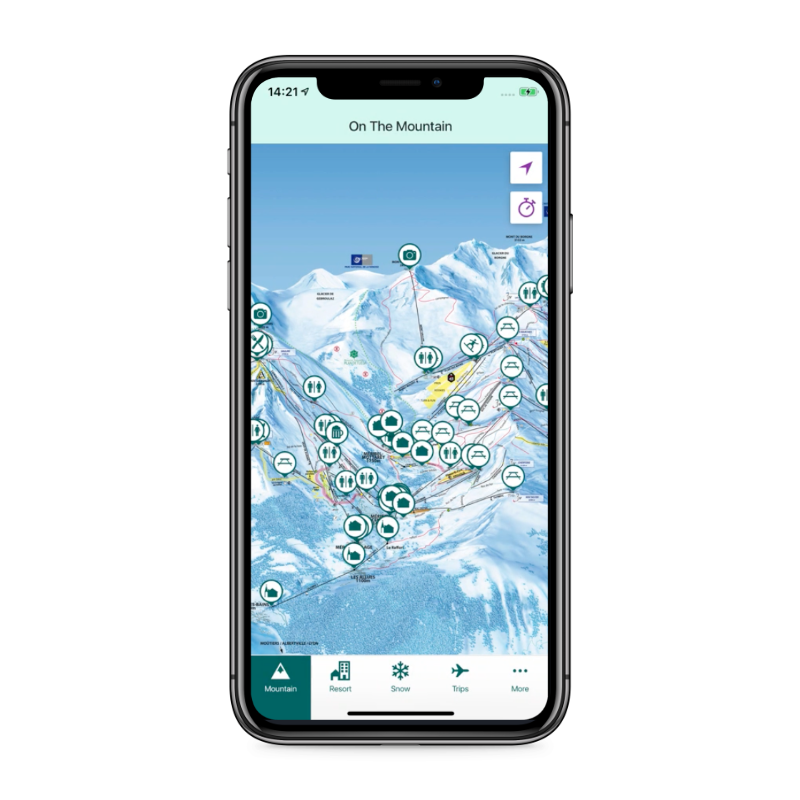 Crystal Ski Explorer app resort mountain map screen