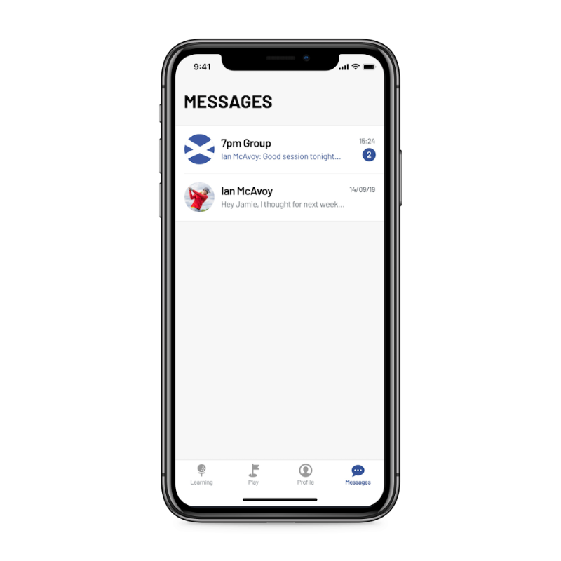 GolPhin app messages screen