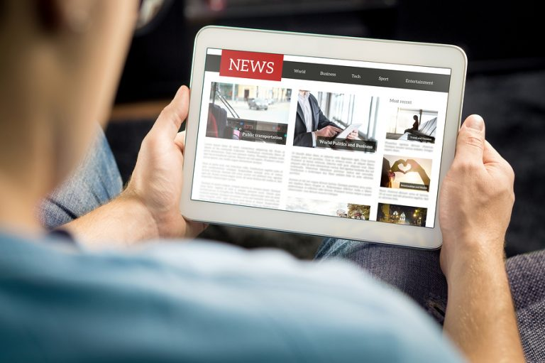 Viewing news on tablet