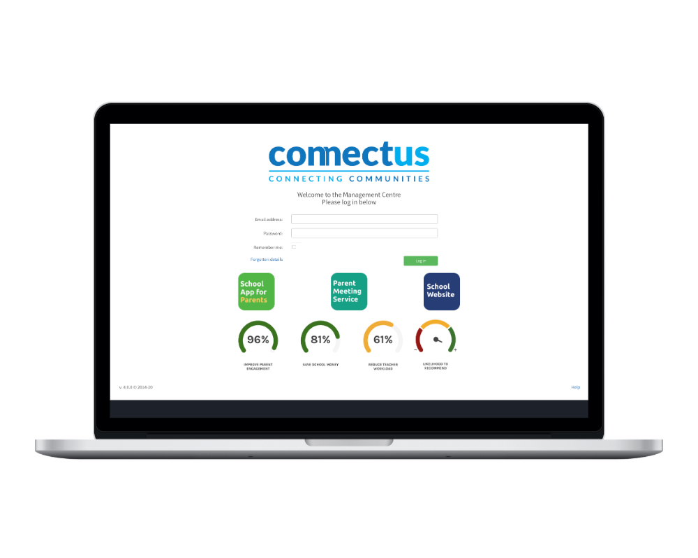 ConnectUs CMS screen on laptop