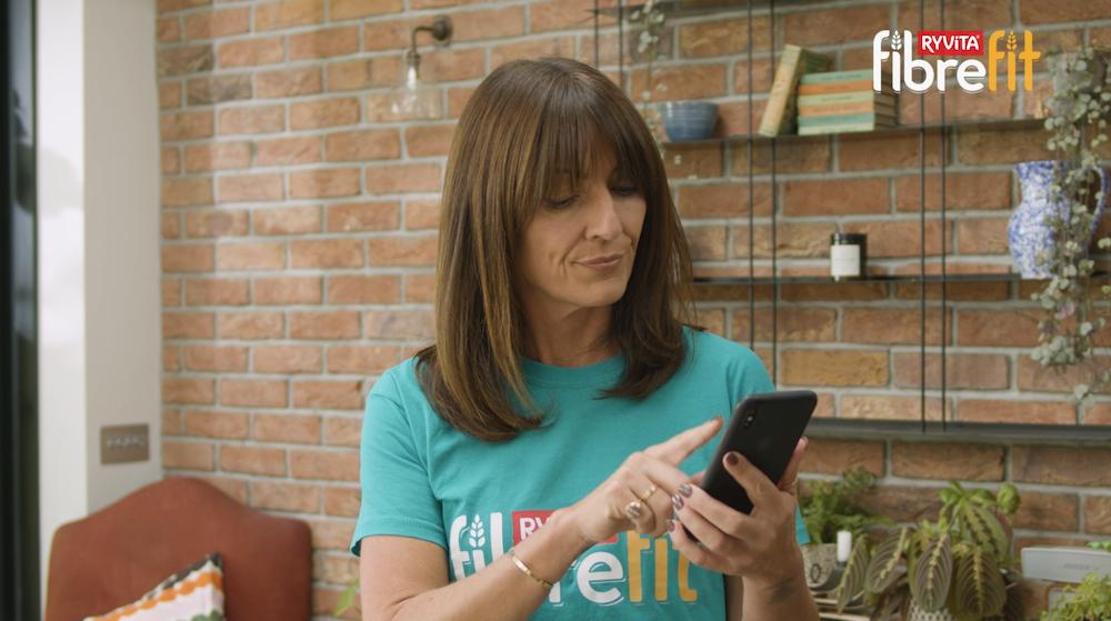 Davina McCall using the Ryvita FibreFit App